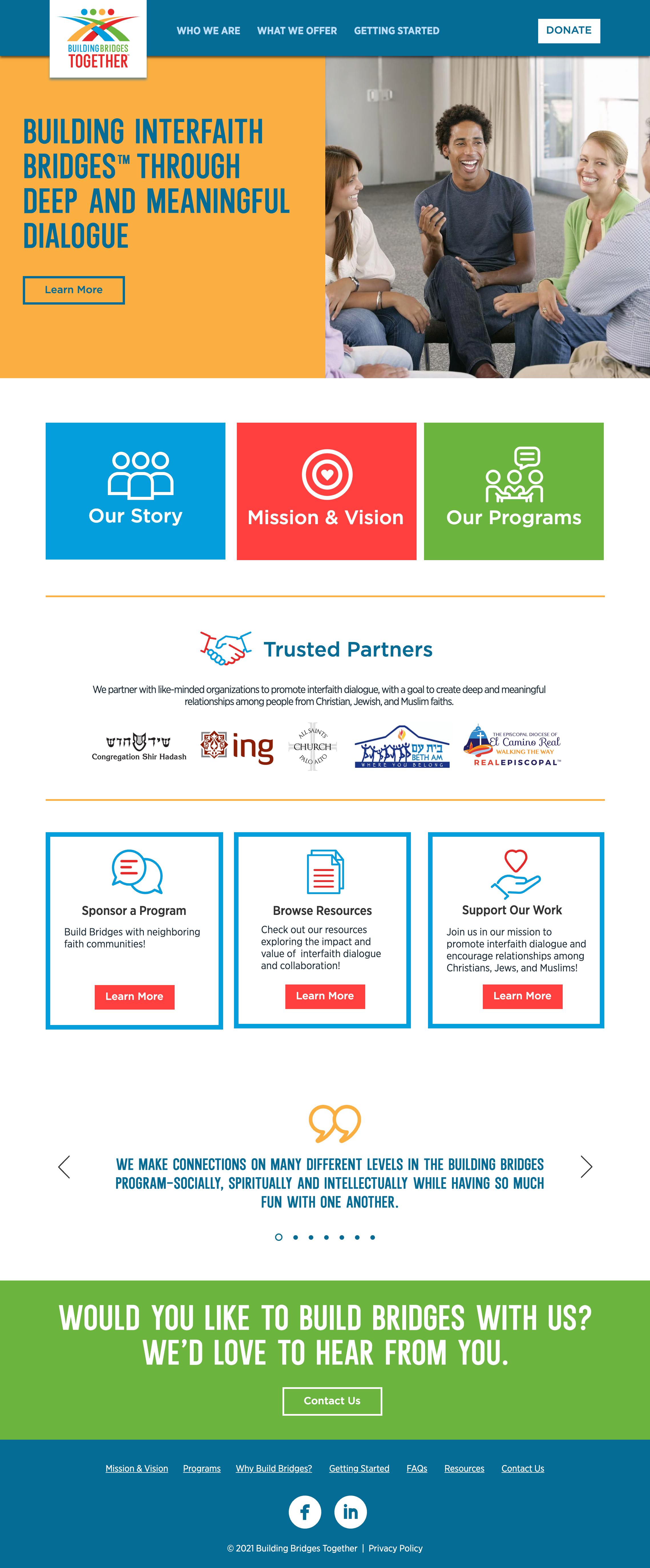 Building Bridges Together website home page
