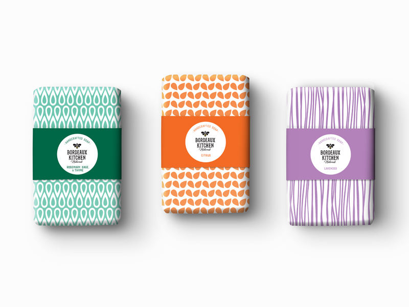 Bordeaux Kitchen Naturals handmade soaps packaging