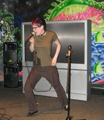 Berta doing karaoke