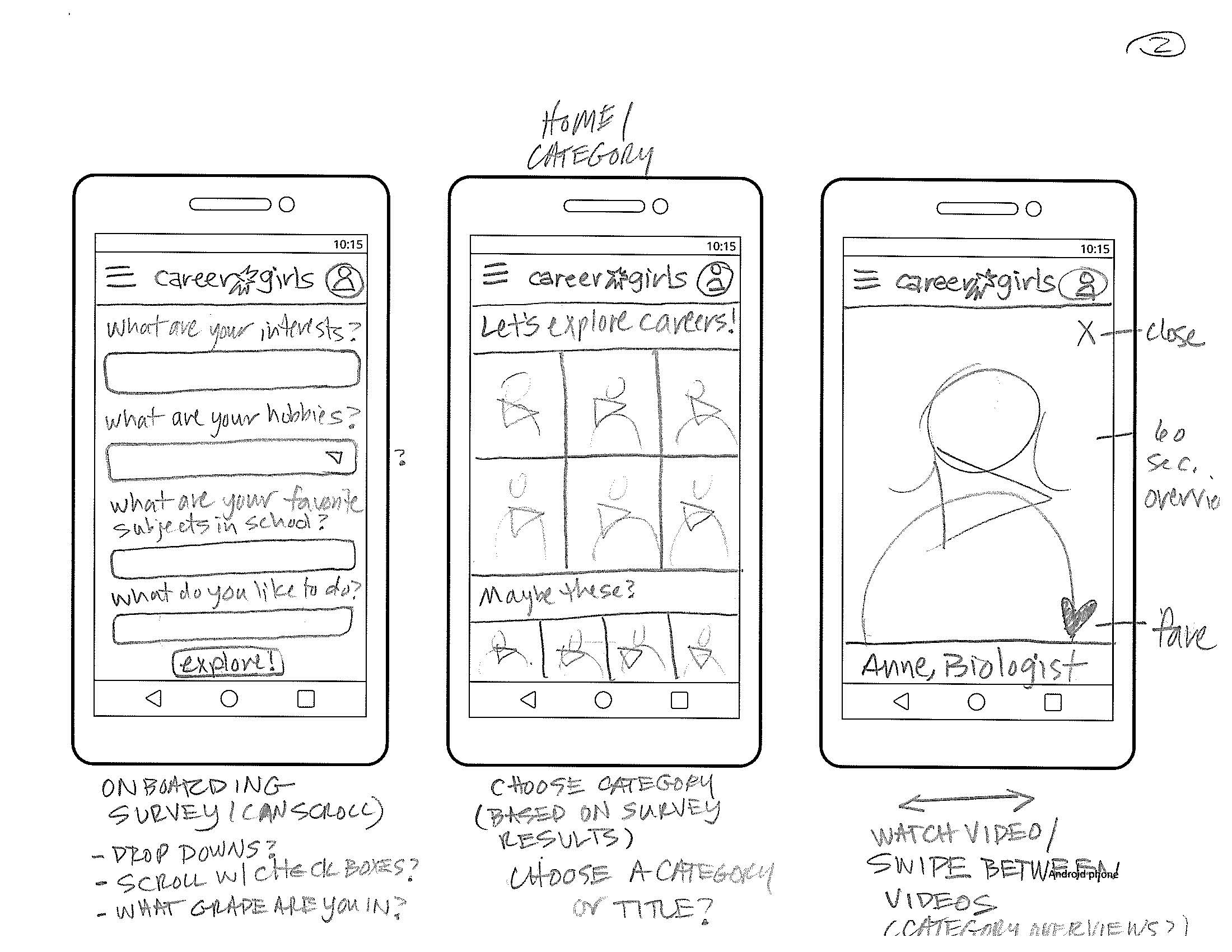 mobile app sketches