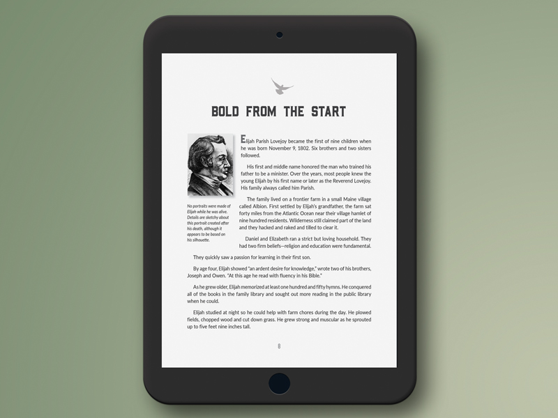 book page shown on ipad