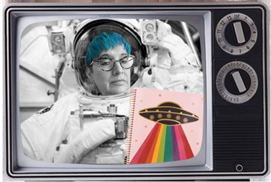 Berta wearing spacesuit on tv holding sketchbook