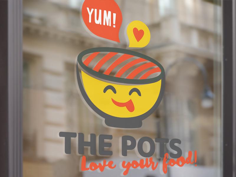 The Pots logo on window