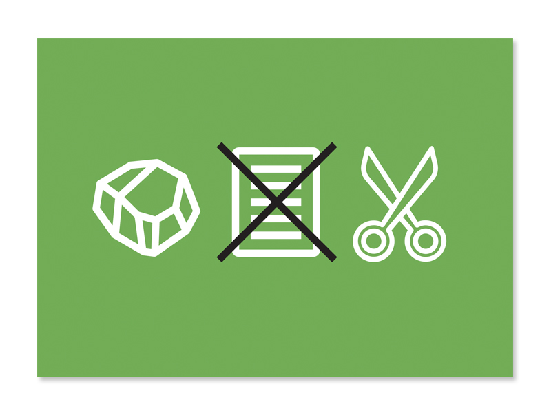 Paperless Campaign postcard front with rock, paper, scissors icons with an X through the paper