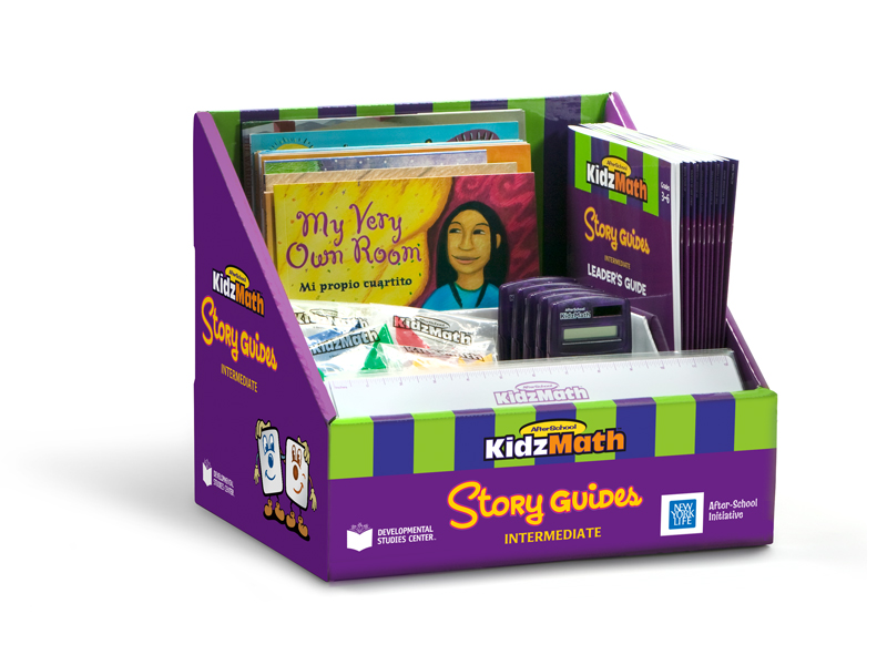 KidzMath story guides package shown in the box