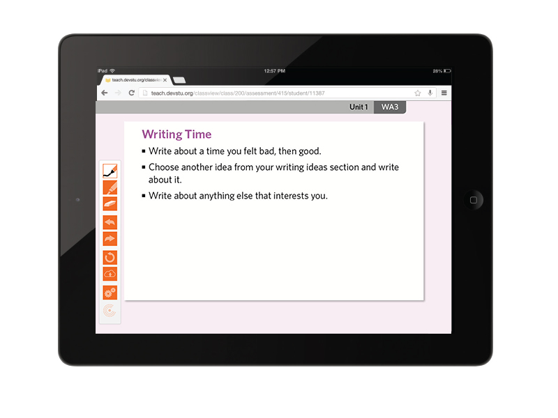 interactive whiteboard activity with side toolbar shown on iPad
