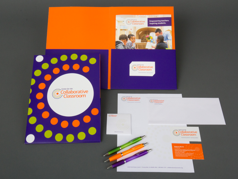 stationery package including letterhead, business card, envelope, shipping label, pens, self-stick notes, and pocket folder