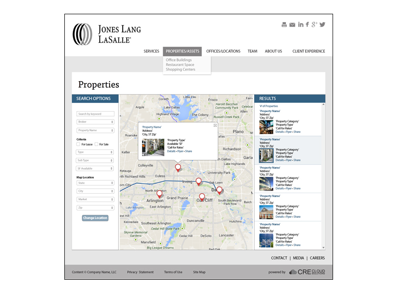 website template map page