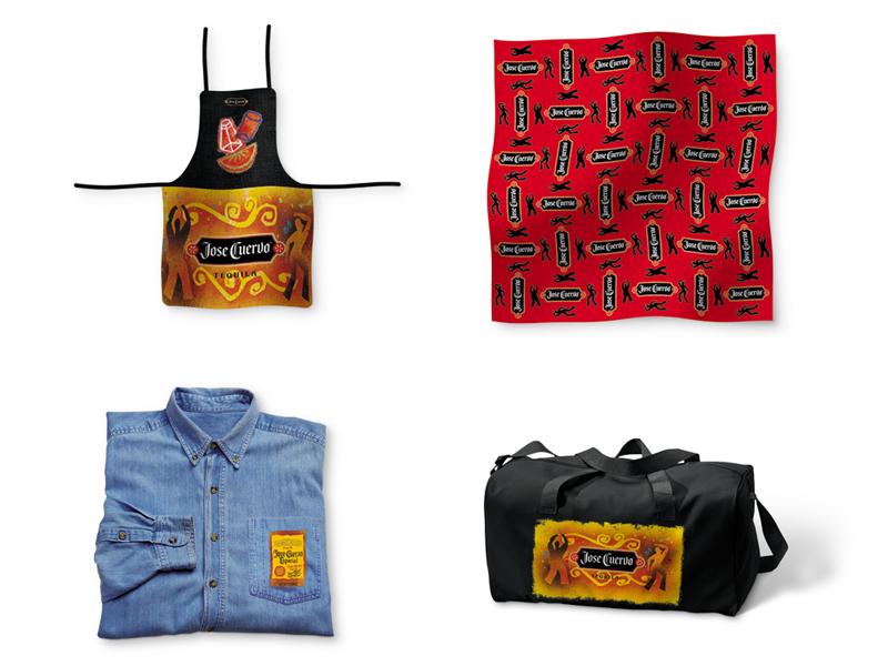 branded apron, shirt, bandana, and gym bag