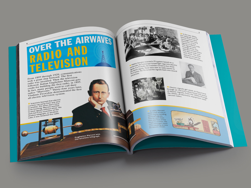 magazine article spread about the invention of the radio and television