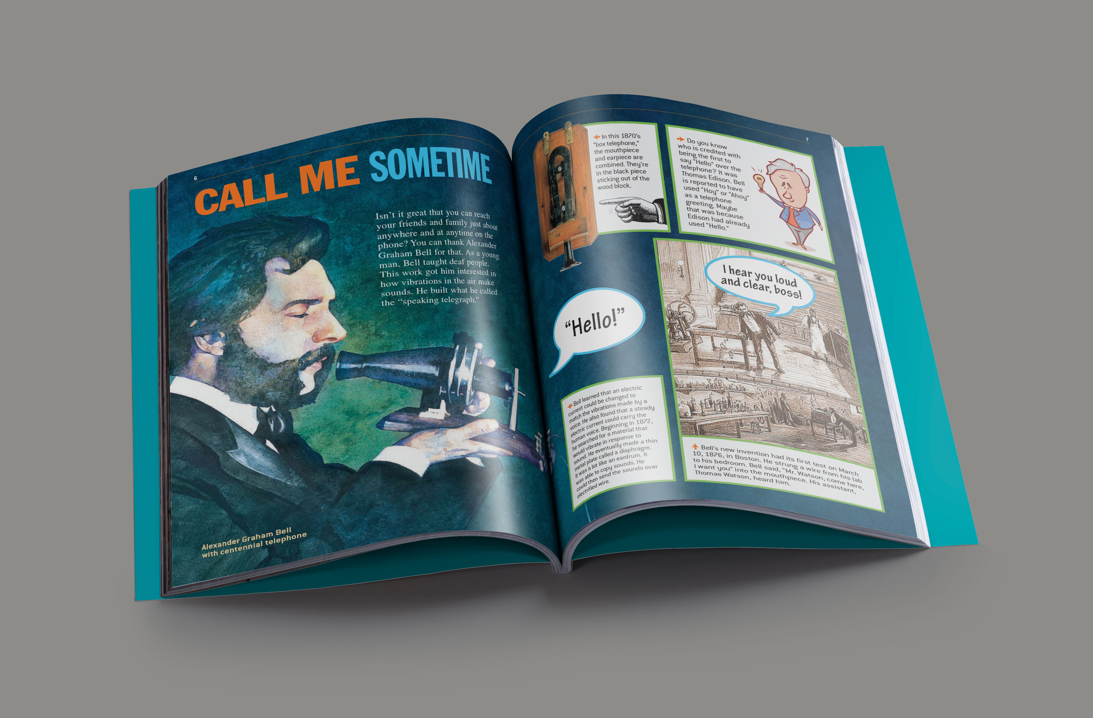 magazine article spread about Alexander Graham Bell's invention of the telephone