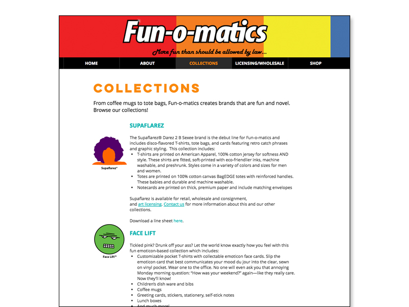 website collections page