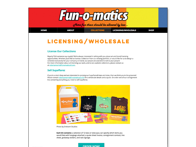 website licensing and wholesale page