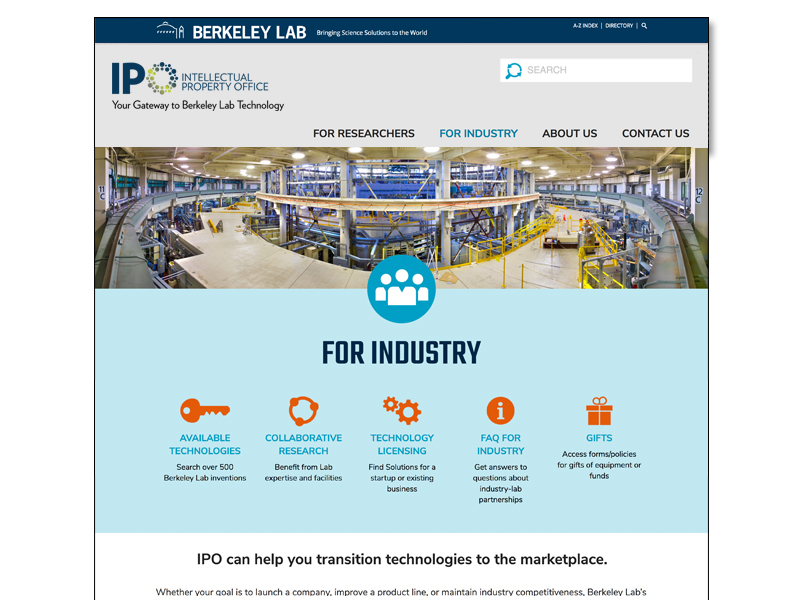 website for industry page
