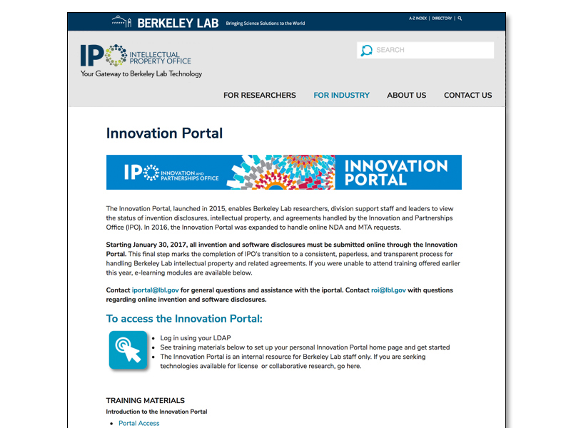 website innovation page