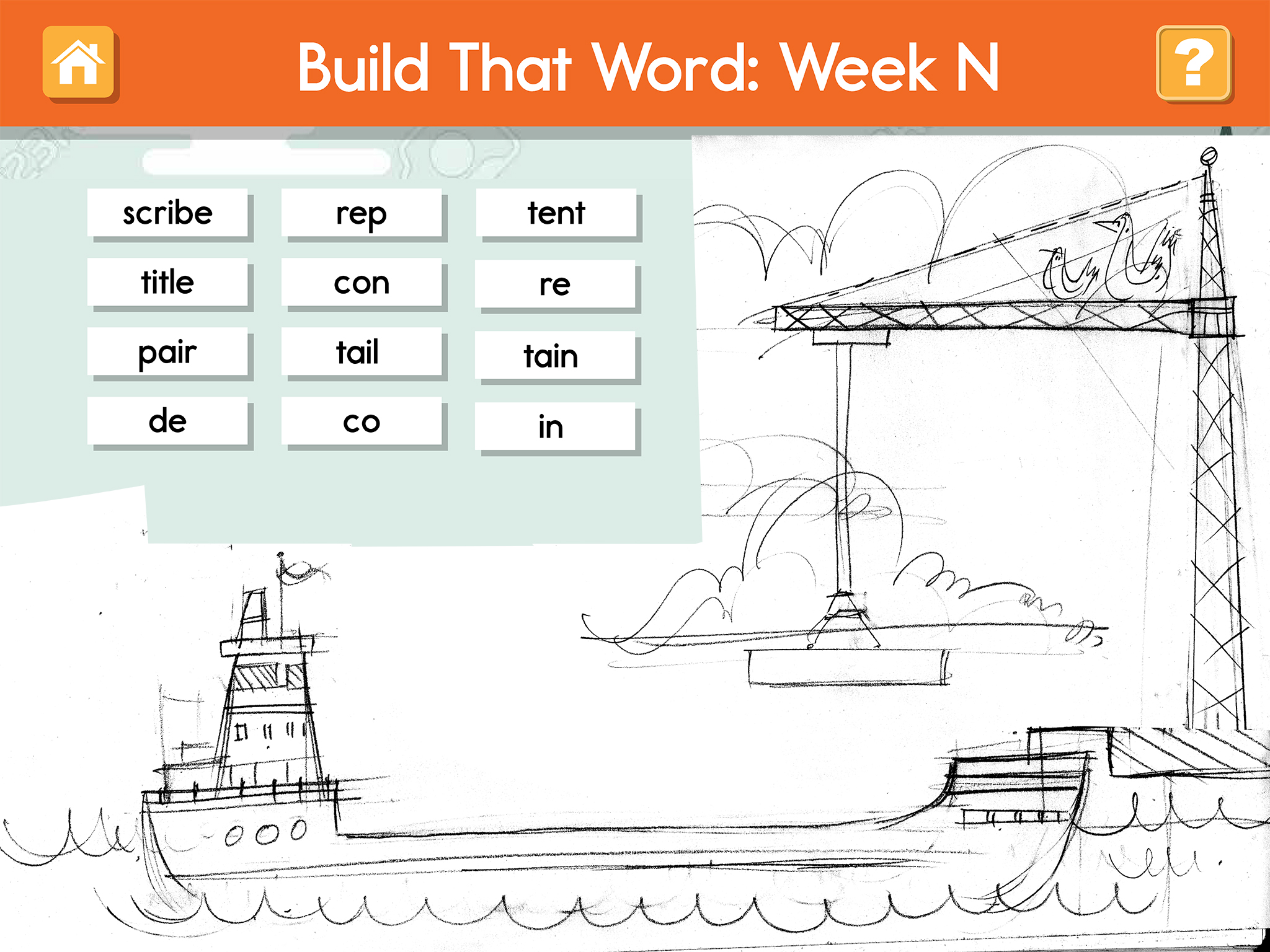 word game app screen wireframe